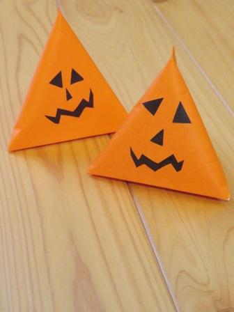 かぼちゃのテトラ型ラッピング